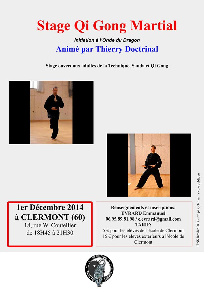Affiche du stage Qi Gong Martial